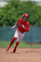 GCL Phillies West Tucker Maxwell (29) running the bases during a Gulf Coast League game against the GCL Yankees East on August 3, 2019 at the Carpenter Complex in Clearwater, Florida.  The GCL Yankees East defeated the GCL Phillies West 4-0, the second game of a doubleheader.  (Mike Janes/Four Seam Images)