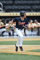 Jake McCarthy (31) of the Virginia Cavaliers hustles down the first base line against the Wake Forest Demon Deacons at David F. Couch Ballpark on May 19, 2018 in  Winston-Salem, North Carolina. The Demon Deacons defeated the Cavaliers 18-12. (Brian Westerholt/Four Seam Images)