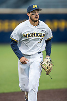 Michigan Wolverines third baseman Drew Lugbauer (17) in action against the Michigan State Spartans on May 19, 2017 at Ray Fisher Stadium in Ann Arbor, Michigan. Michigan defeated Michigan State 11-6. (Andrew Woolley/Four Seam Images)