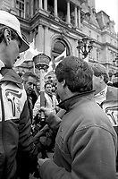 December 12, 1987 File Photo - Montreal, Quebec, CANADA -  Jean Dore, Montreal Mayor attend the The passage of the Olympic torch in downtown Montreal.