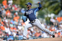 Tampa Bay Rays pitcher Robert Zarate (76) during a Spring Training game against the Baltimore Orioles on March 14, 2015 at Ed Smith Stadium in Sarasota, Florida.  Tampa Bay defeated Baltimore 3-2.  (Mike Janes/Four Seam Images)