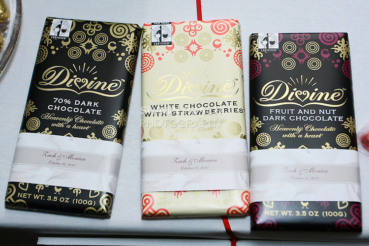 Divine Chocolate products displayed in the Green Bride Guide Pavilion during the Wedding Channel Couture Show, October 16, 2010.