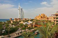 Dubai, United Arab Emirates. Burj al Arab Hotel, Al Qasr Hotel and Mina A'Salam Hotel. Madinat Jumeirah. Souk.  .