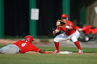 Williamsport Crosscutters first baseman Logan Pierce #25 takes a throw as Wilmer Difo #4 dives back to first during a game against the Auburn Doubledays on July 8, 2013 at Bowman Field in Williamsport, Pennsylvania.  Auburn defeated Williamsport 5-1.  (Mike Janes/Four Seam Images)