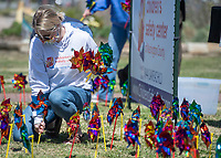 Lindsey Wagner, child advocate at the Children's Safety Center of Washington County, plants pinwheels Thursday April 1, 2021 at the corner of Emma Ave. and Thompson St. in Springdale. The Pinwheels for Prevention were placed by employees of the Children's Safety Center of Washington County and the Springdale mayor's office including mayor Doug Sprouse for Child Abuse Awareness Month. For more information see www.childrenssafetycenter.org. Visit nwaonline.com/210402Daily/ and nwadg.com/photos. (NWA Democrat-Gazette/J.T. Wampler)