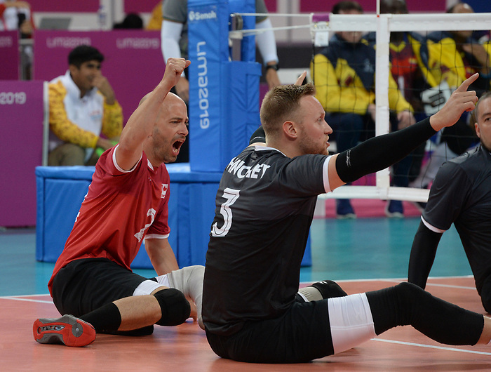Mikael Bartholdy and Austin Hinchey, Lima 2019 - Sitting Volleyball // Volleyball assis.<br /> Canada competes in men's Sitting Volleyball // Canada participe au volleyball assis masculin. 24/08/2019.
