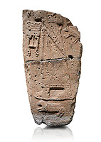 Hittite monumental relief sculpture fragment. Late Hittite Period - 900-700 BC. Adana Archaeology Museum, Turkey. Against a white background