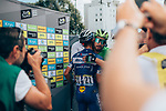 Julian Alaphilippe (FRA) Deceuninck-Quick Step and Green Jersey Peter Sagan (SVK) Bora-Hansgrohe hug at the end of Stage 8 of the 2019 Tour de France running 200km from Macon to Saint-Etienne, France. 13th July 2019.<br /> Picture: ASO/Thomas Maheux   Cyclefile<br /> All photos usage must carry mandatory copyright credit (© Cyclefile   ASO/Thomas Maheux)