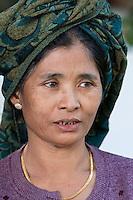 Myanmar, Burma.  Burmese Woman, near Bagan.