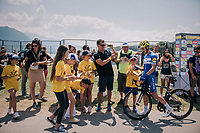 Julian Alaphilippe (FRA/Quick Step Floors) signing some autographs pre-race<br /> <br /> Stage 10: Annecy > Le Grand-Bornand (159km)<br /> <br /> 105th Tour de France 2018<br /> ©kramon