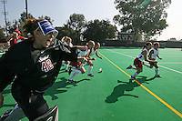 6 November 2007: Stanford Cardinal Alessandra Moss (42), Annika Alexander-Ozinskas (23), Midori Uehara (3), Lisa Maffucci (15), Caroline Hussey (18), and Rachel Mozenter (7) during Stanford's 1-0 win against the Lock Haven Lady Eagles in an NCAA play-in game to advance to the NCAA tournament at the Varsity Field Hockey Turf in Stanford, CA.