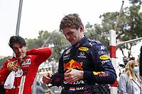 23rd May 2021; Principality of Monaco; F1 Grand Prix of Monaco,   Race Day;   VERSTAPPEN Max ned, Red Bull Racing Honda RB16B  with SAINZ Carlos spa, Scuderia Ferrari SF21 in parc ferme
