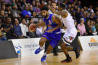 Dion Prewster of the Wellington Saints drives to the basket during the round one NBL match between the Wellington Saints and the Canterbury Rams at TSB Bank Arena, Wellington, New Zealand on Friday 30 April 2021.<br /> Photo by Masanori Udagawa. <br /> www.photowellington.photoshelter.com