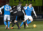 St Johnstone v Rangers…27.02.18…  McDiarmid Park    SPFL<br />Blair Alston gets away from Jamie Murphy<br />Picture by Graeme Hart. <br />Copyright Perthshire Picture Agency<br />Tel: 01738 623350  Mobile: 07990 594431