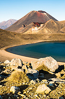 Volcanic rocks, Blue Lake and Mount Ngaruhoe, Tongariro National Park, Central Plateau, North Island, UNESCO World Heritage Area, New Zealand, NZ
