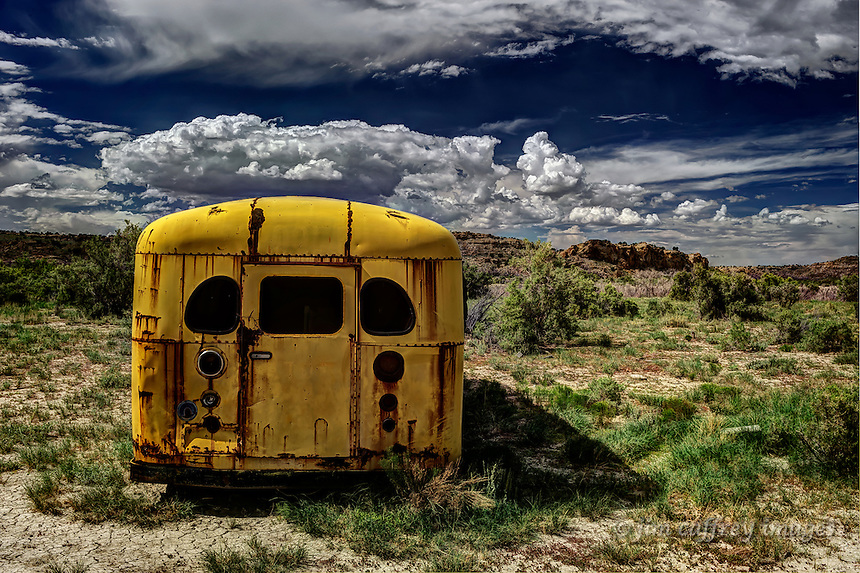An old abandoned school bus near Torreon Wash in the Empedrado Wilderness Study Area in the San Juan Basin of northwestern New Mexico.