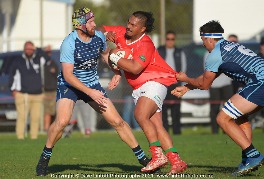Action from the Wellington Swindale Shield premier men's club rugby match between Marist St Pat's and Johnsonville at Evan's Bay Park in Wellington, New Zealand on Saturday, 15 May 2021. Photo: Dave Lintott / lintottphoto.co.nz