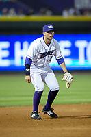 Winston-Salem Dash third baseman Brady Conlan (9) on defense against the Buies Creek Astros at BB&T Ballpark on April 13, 2017 in Winston-Salem, North Carolina.  The Dash defeated the Astros 7-1.  (Brian Westerholt/Four Seam Images)