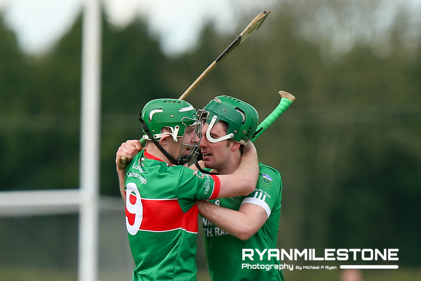 Noel McGrath of Loughmore/Castleiney clashes with Johnny Ryan of Drom Inch during the Centenary Agri Mid Senior Hurling Championship Quarter Final between Loughmore/Castleiney and Drom Inch on Saturday 28th April 2018 at Templetuohy, Co Tipperary, Photo By Michael P Ryan