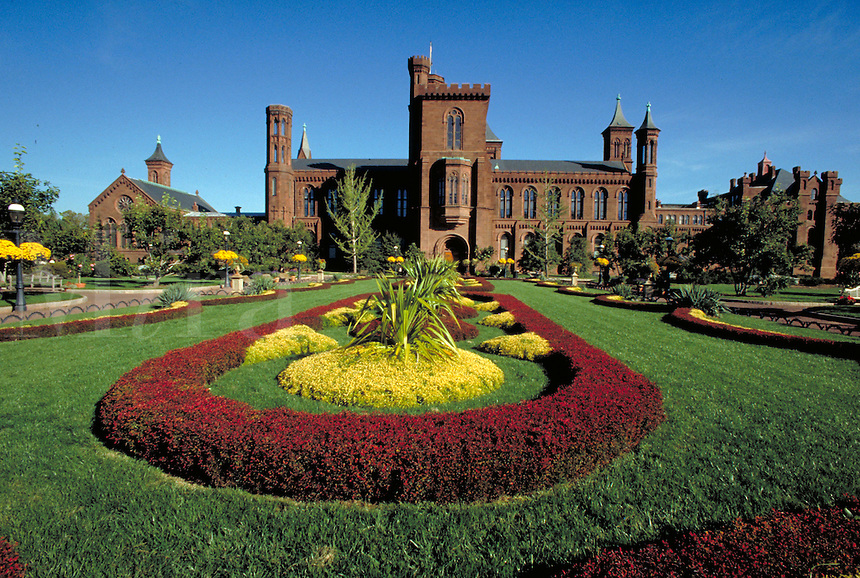 The Castle at the Smithsonian Institution and the Enid Haupt Garden, Washington, DC. Washington DC USA.