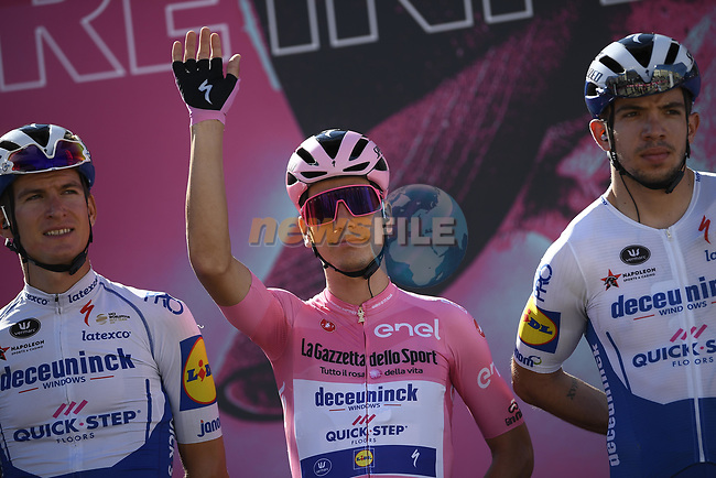 Race leader Maglia Rosa Joao Almeida (POR) Deceuninck-Quick Step at sign on before the start of Stage 8 of the 103rd edition of the Giro d'Italia 2020 running 200km from Giovinazzo to Vieste, Sicily, Italy. 10th October 2020.  <br /> Picture: LaPresse/Marco Alpozzi | Cyclefile<br /> <br /> All photos usage must carry mandatory copyright credit (© Cyclefile | LaPresse/Marco Alpozzi)
