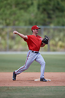 Washington Nationals Jake Noll (13) throws to first base during practice before a minor league Spring Training game against the St. Louis Cardinals on March 27, 2017 at the Roger Dean Stadium Complex in Jupiter, Florida.  (Mike Janes/Four Seam Images)