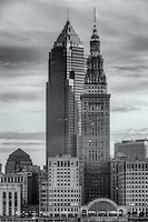 The Terminal Tower and Key Tower dominate the skyline of Cleveland, Ohio just before sunrise.  The Terminal Tower was the 4th tallest building in the world when built in 1930 and remained the tallest in Cleveland until the completion of the Key Tower (then Society Tower) in 1991.