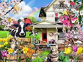 Lori, LANDSCAPES, LANDSCHAFTEN, PAISAJES, paintings+++++Spring Kitties_7_10in_72_Lori Schory,USLS305,#l#, EVERYDAY ,puzzle,puzzles