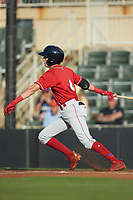Nick Maton (6) of the Lakewood BlueClaws follows through on his swing against the Kannapolis Intimidators at Kannapolis Intimidators Stadium on July 7, 2018 in Kannapolis, North Carolina. The Intimidators defeated the BlueClaws 4-3 in 10 innings.  (Brian Westerholt/Four Seam Images)