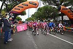 The leaders jerseys line up for the start of Stage 12 of the 103rd edition of the Giro d'Italia 2020 running 204km from Cesenatico to Cesenatico, Italy. 15th October 2020.  <br /> Picture: LaPresse/Gian Mattia D'Alberto | Cyclefile<br /> <br /> All photos usage must carry mandatory copyright credit (© Cyclefile | LaPresse/Gian Mattia D'Alberto)