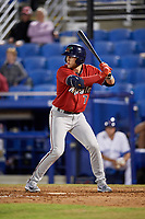 Fort Myers Miracle designated hitter Travis Blankenhorn (7) at bat during a game against the Dunedin Blue Jays on April 17, 2018 at Dunedin Stadium in Dunedin, Florida.  Dunedin defeated Fort Myers 5-2.  (Mike Janes/Four Seam Images)