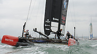 Emirates Team New Zealand in front of the Emirates Spinnaker Tower during day two of the Louis Vuitton America's Cup World Series racing, Portsmouth, United Kingdom. (Photo by Rob Munro/Stewart Communications)