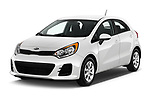 2017 KIA Rio LX 5 Door Hatchback Angular Front stock photos of front three quarter view