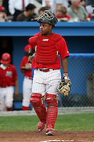 September 15 2008:  Catcher Christian Rosa of the Batavia Muckdogs, Class-A affiliate of the St. Louis Cardinals, during a game at Dwyer Stadium in Batavia, NY.  Photo by:  Mike Janes/Four Seam Images