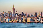 View of the Manhattan skyline at sunset, as seen from across the Hudson River in Jersey City