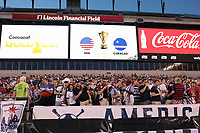 PHILADELPHIA, PENNSYLVANIA - JUNE 30: Fans during the 2019 CONCACAF Gold Cup quarterfinal match between the United States and Curacao at Lincoln Financial Field on June 30, 2019 in Philadelphia, Pennsylvania.