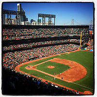 SAN FRANCISCO, CA - SEPTEMBER 20: iPhone Instagram of the wide angle interior overall scene during the game between the Arizona Diamondbacks and Francisco Giants at AT&T Park on September 20, 2015 in San Francisco, California. (Photo by Brad Mangin)