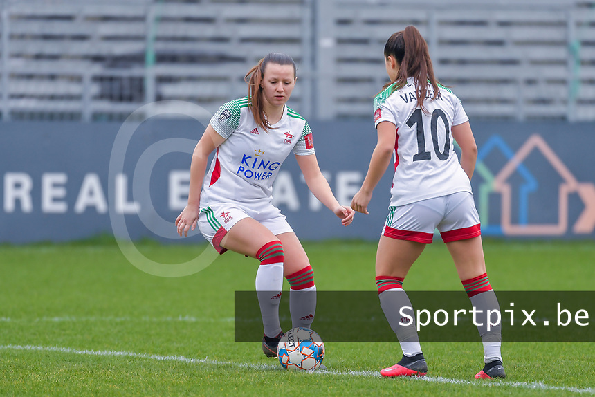 Hannah Eurlings (9) of OHL and Luna Vanzeir (10) of OHL pictured during a female soccer game between Eendracht Aalst and OHL on the 13 th matchday of the 2020 - 2021 season of Belgian Scooore Womens Super League , Saturday 6 th of February 2021  in Aalst , Belgium . PHOTO SPORTPIX.BE | SPP | STIJN AUDOOREN