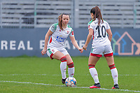 Hannah Eurlings (9) of OHL and Luna Vanzeir (10) of OHL pictured during a female soccer game between Eendracht Aalst and OHL on the 13 th matchday of the 2020 - 2021 season of Belgian Scooore Womens Super League , Saturday 6 th of February 2021  in Aalst , Belgium . PHOTO SPORTPIX.BE   SPP   STIJN AUDOOREN