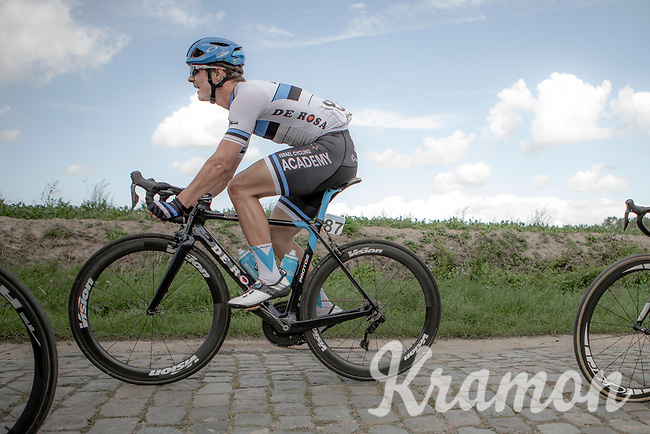 Later race winner Mihkel Raïm (EST/Israël Cycling Academy) riding the cobbles.<br /> <br /> <br /> 1st Great War Remembrance Race 2018 (UCI Europe Tour Cat. 1.1) <br /> Nieuwpoort > Ieper (BE) 192.7 km