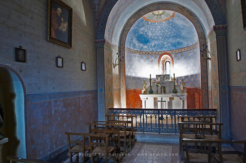 Chateau St Martin de la Garrigue. Languedoc. The private chapel. France. Europe.