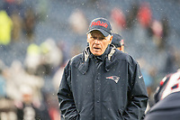 FOXBOROUGH, MA - OCTOBER 27: New England Patriots offensive line coach Dante Scarnecchia during a game between Cleveland Browns and New Enlgand Patriots at Gillettes on October 27, 2019 in Foxborough, Massachusetts.