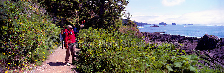 Hikers on Trail along Pacific West Coast of Vancouver Island, near Ucluelet, British Columbia, Canada - Panoramic View