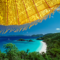 Trunk Bay Yellow Umbrella<br /> Virgin Islands National Park<br /> St. John<br /> US Virgin Islands