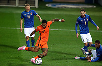 Netherlands' Memphis Depay kicks the ball during the UEFA Nations League football match between Italy and Netherlands at Bergamo's Atleti Azzurri d'Italia stadium, October 14, 2020.<br /> UPDATE IMAGES PRESS/Isabella Bonotto