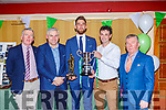 JAck O'Neill receives the Player of the Year at the Legion GAA social in the Killarney Avenue Hotel on Friday night l-r: Tommy Galvin, Stephen Stack, Jack O'Neill, Fergal Moynihan, PAt Moynihan