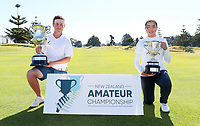 Winners James Hydes and Fiona Xu during the finals of the New Zealand Amateur Golf Championship, Poverty Bay Golf Course, Awapuni Links, Gisborne, Sunday 25 October 2020. Photo: Simon Watts/www.bwmedia.co.nz