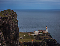 Tourists look down to the lighthouse from the hiking destination Neist Point, Glendale, Scotland on 2015/06/09. Foto EXPA/ JFK/Insidefoto