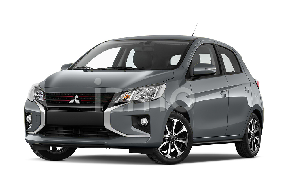 Stock pictures of low aggressive front three quarter view of 2020 Mitsubishi Space-Star Red-Line-Edition 5 Door Hatchback Low Aggressive