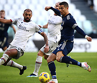 Calcio, Serie A: Juventus - Bologna, Turin, Allianz Stadium, January 24, 2021.<br /> Juventus' Cristiano Ronaldo (r) in action with Bologna's captain Danilo Larangeira (l) during the Italian Serie A football match between Juventus and Bologna at the Allianz stadium in Turin, January 24, 2021.<br /> UPDATE IMAGES PRESS/Isabella Bonotto